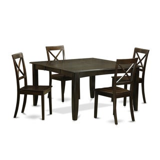 Traditional Cappuccino Finish Solid Rubberwood 5-Piece Dining Set with Parfait Table and Four Boston Chairs