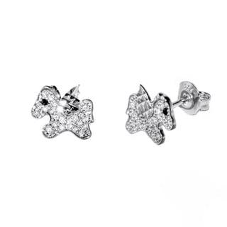 Pori 18k Goldplated/Rhodium-plated Sterling Silver Cubic Zirconia Unicorn Earrings