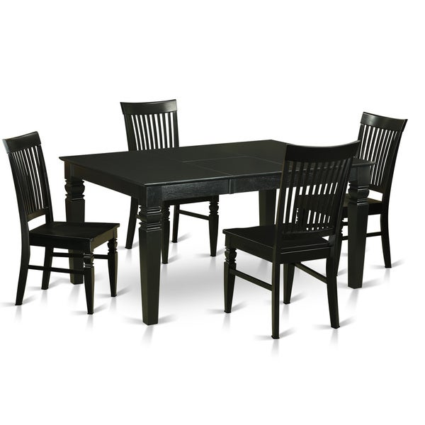 5 Piece Dining Set Wood Metal Frame Table And 4 Chairs: Shop Modern Solid Rubberwood 5-Piece Dining Set With