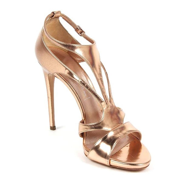 Shop Casadei Women s Gold Leather Strappy Heels - Free Shipping ... 665f09d47