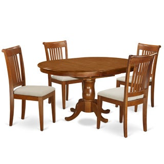 PORT5-SBR Brown Rubberwood 5-piece Dining Table Set Including Oval Dining Table with Leaf and 4 Dining Chairs