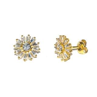 Pori Sterling-silver Cubic Zirconia Flower Earrings