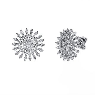 Pori White Rhodium-plated Sterling Silver Cubic Zirconia Sun Earrings
