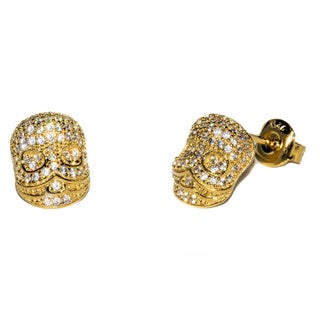 Pori 18k Gold-plated Or Rhodium-plated Sterling Silver Skull CZ Earrings