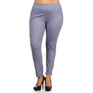 MOA Collection Women's Grey Polyester, Spandex Straight Leg Stretchy Pants