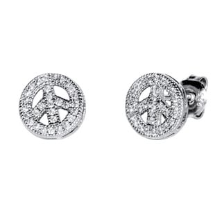 Pori 18k Gold-plated/Rhodium-plated Sterling Silver Cubic Zirconia Peace Earrings