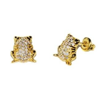 Pori Sterling-silver Cubic Zirconia Frog Earrings