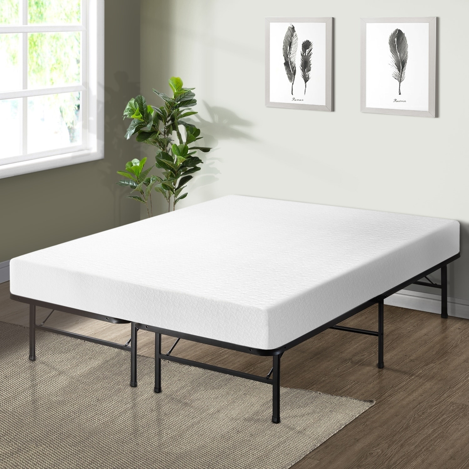 Shop 8 Inch Memory Foam Mattress With Bed Frame Set Crown