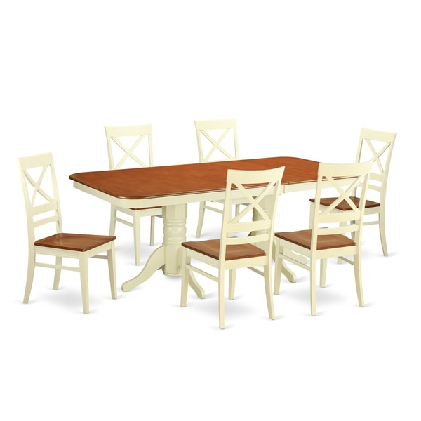 7 piece dinette set twotone buttermilkcherry rubberwood 7piece dinette set shop