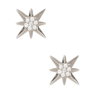 Pori Sterling-silver Cubic Zirconia 8-pointed Star Earrings