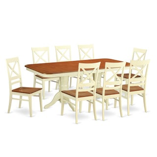 Two-tone Cream/Cherry Rubberwood 9-piece Dining Table Set
