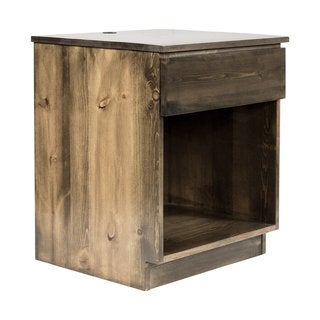 eLuxurySupply Walnut-finished North American Pine Bedside Nightstand