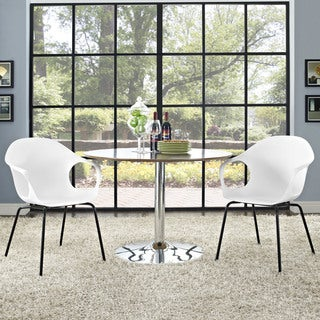 Swerve White Polypropylene Dining Chairs with Steel Legs (Set of 2)