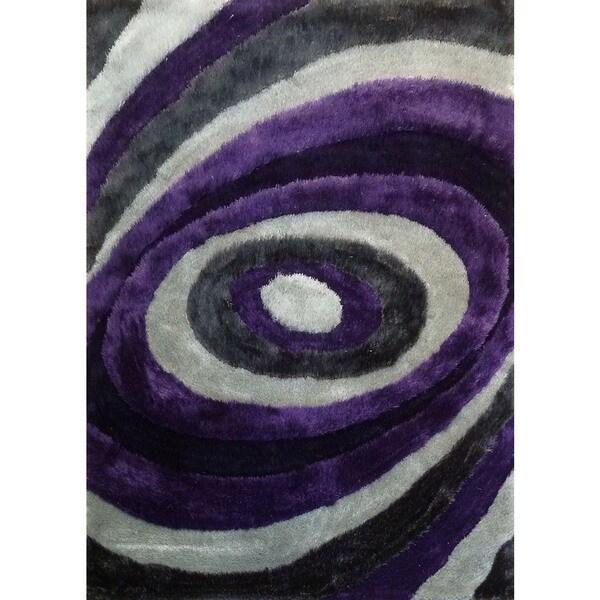 Purple Viscose Rug: Shop Purple/Grey/Silver Viscose Handmade Shag Area Rug