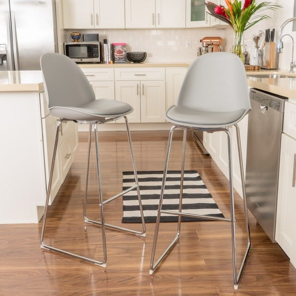 Shop Lorraine 32 Inchfaux Leather Barstool Set Of 2 By Christopher