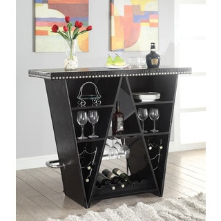 Patrick Black Faux Leather, MDF, Metal Bar Table