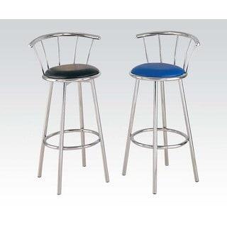 Cucina Blue/Chrome Metal/Foam/Faux Leather Swivel Bar Chair (Set of 2)