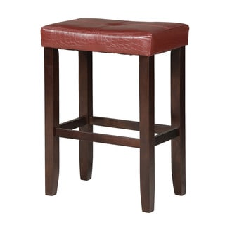 Hogan Red Crocodile PU Bar Stool With Espresso Base (Set of Two)