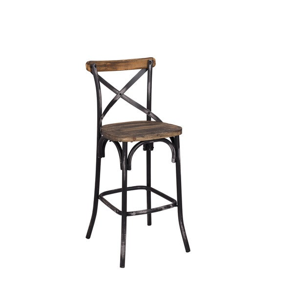 Zaire Antique Walnut Finish Wood Steel Bar Chair Free