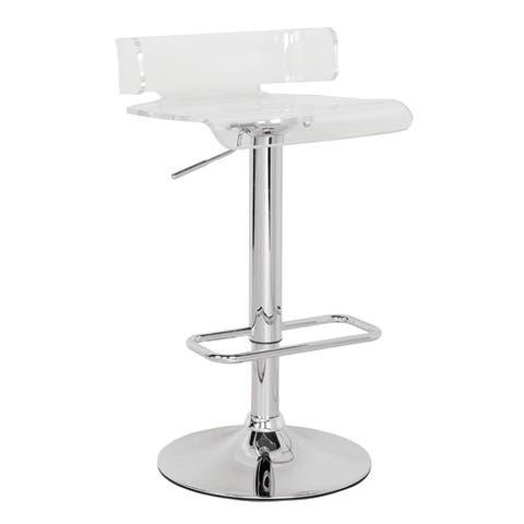 Clear & Chrome Rania Adjustable Stool w/Swivel
