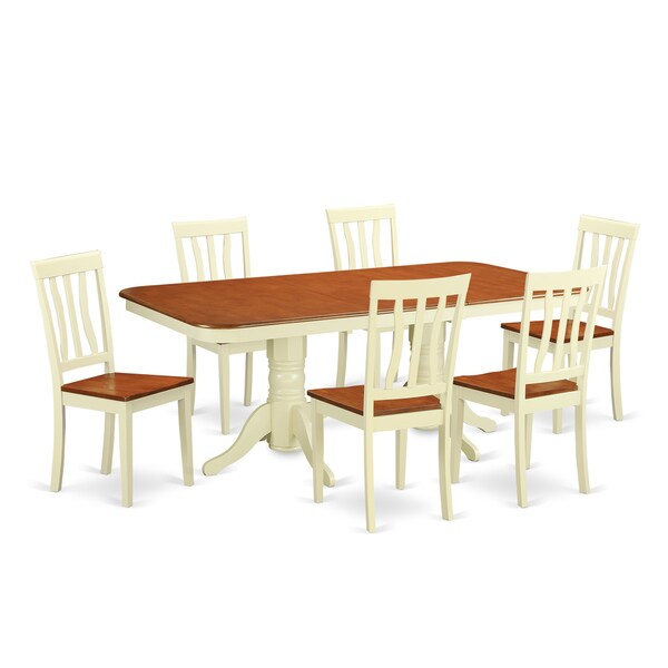 Archibald 7 Piece White Dining Set: Shop NAAN7 Cream, Off-white Rubberwood 7-piece Dining Room