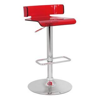 Red & Chrome Rania Adjustable Stool w/Swivel