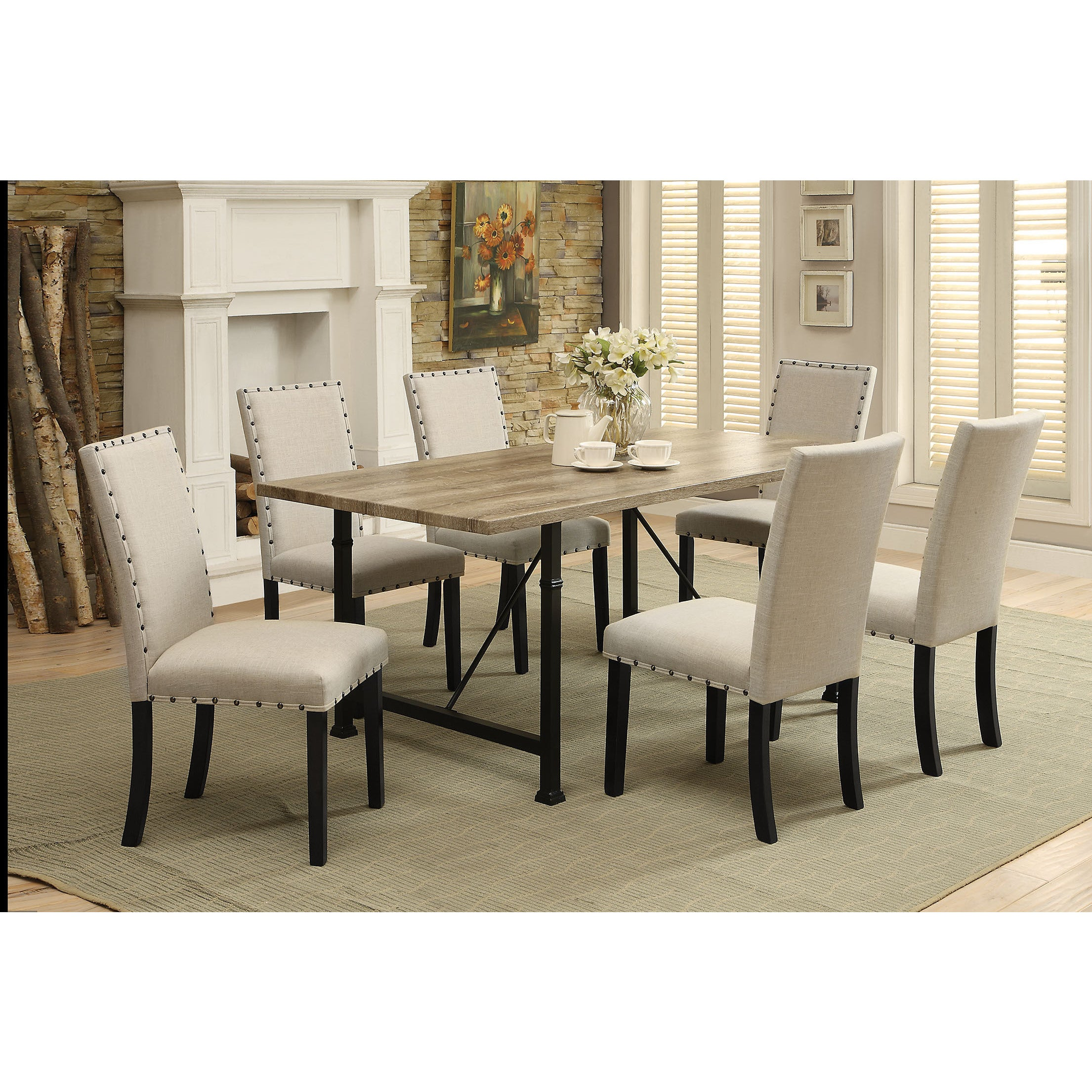 ACME Oldlake Dining Table, Antique Light Oak and Black (A...