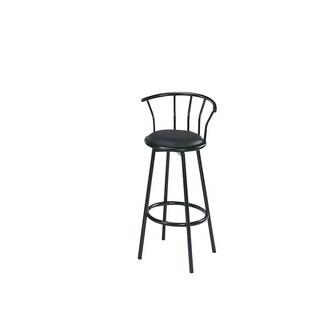 Cucina Black Faux Leather, Foam, Metal Swivel Bar Chair (Set of 2)