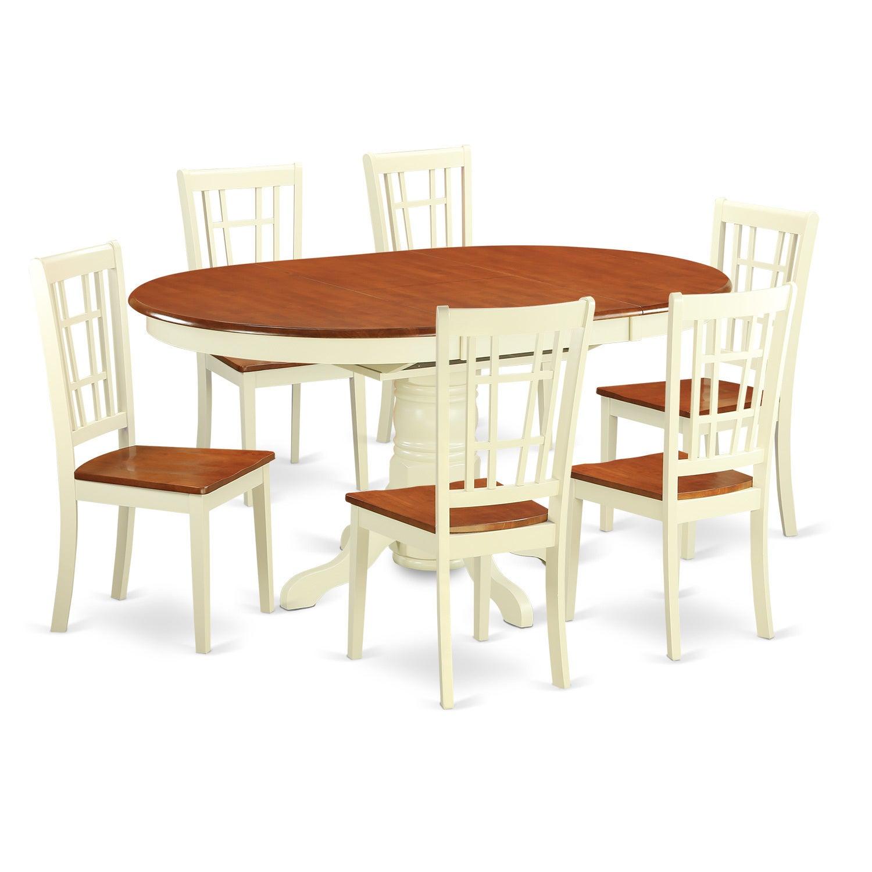 KENI7-WHI-W 7-piece Dining Table Set (Buttermilk & Cherry...