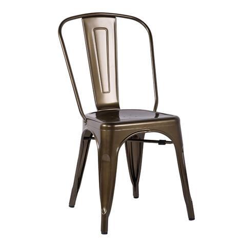 Jakia Bronze Steel Dining Chairs (Set of 2)