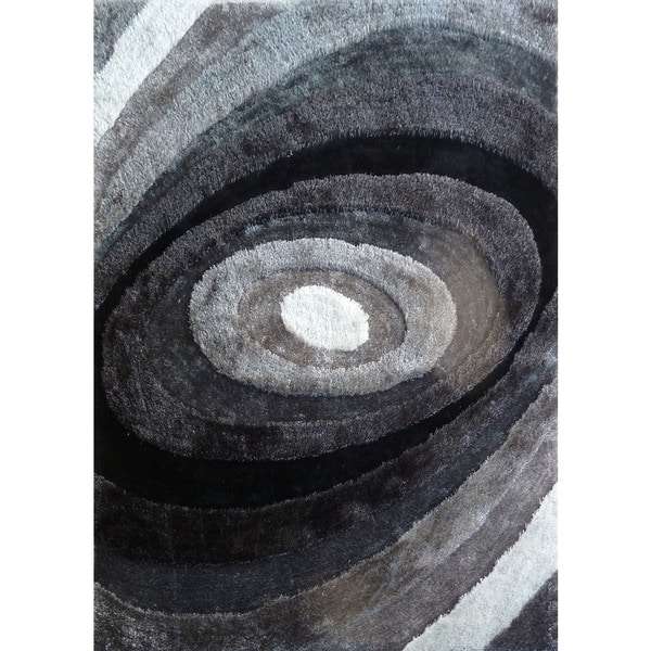 Shop Silver/Grey/Black Viscose Handmade Shag Area Rug