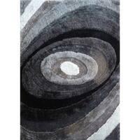 Silver/Grey/Black Viscose Handmade Shag Area Rug - 4' x 5'4