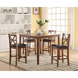 Raotises 72515 Espresso Faux Leather and Walnut Rubberwood 5-piece Counter Height Set Including Table and 4-dining Chairs