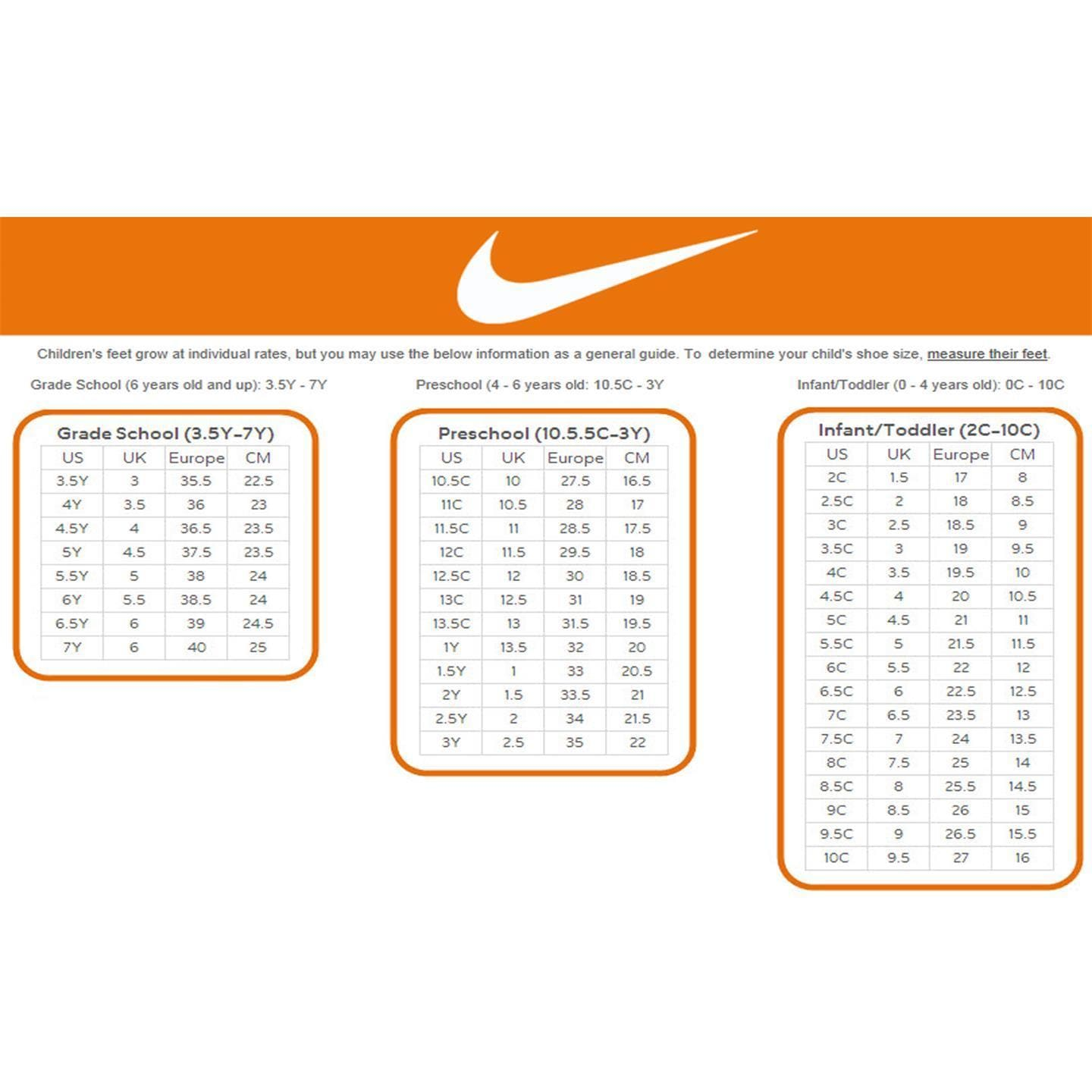 nike shoe size chart in inches - The future