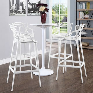 Plastic Entangled White Plastic Bar Chairs (Pack of 4)