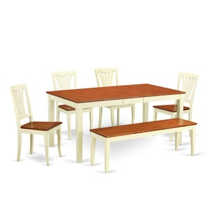 Buttermilk and Cherry Solid Rubberwood 6-piece Dining Set with Dinette Table, Four Chairs and One Bench