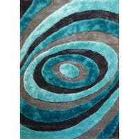 Handmade Silver/Grey/Blue/Turquoise Viscose Shag Area Rug - 4' x 5'4