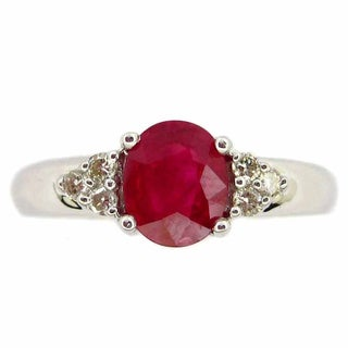 Kabella 14k White Gold Ruby and Diamond Accent Ring