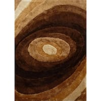 Handmade Beige Brown Shag Area Rug - 4' x 5'4