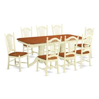 NADO9-WHI Cream/Cherry Rubberwood 9-piece Kitchen Table Set Including Small Kitchen Table and 8 Dining Room Chairs