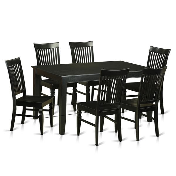 Brussels Traditional Dining Room Set 7 Piece Set: Traditional Black Rubberwood 7-piece Dining Room Set
