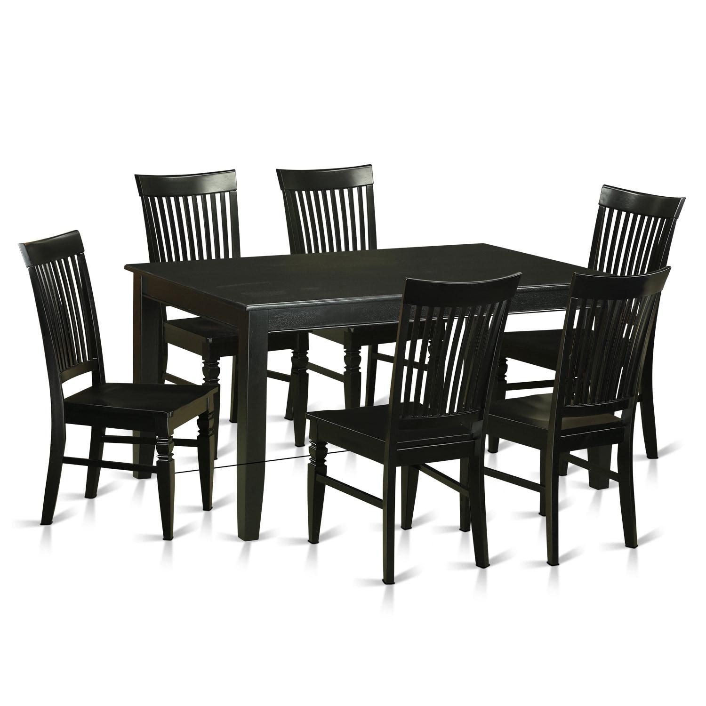 Traditional Black Rubberwood 7-piece Dining Room Set (Bla...