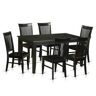 Traditional Black Rubberwood 7-piece Dining Room Set