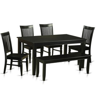 Black Finish Solid Rubberwood 6-Piece Dining Set With 4 Kitchen Chairs and Dining Bench