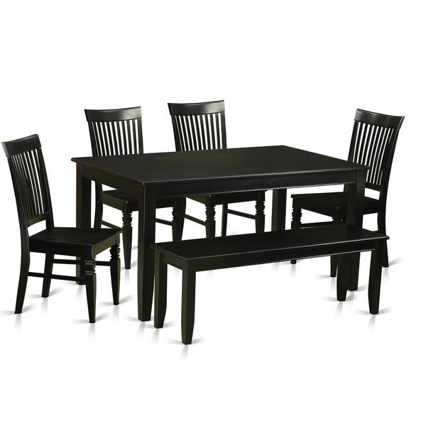 Black Finish Solid Rubberwood 6-Piece Dining Set With 4 Kitchen ...
