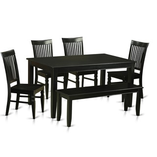 Black Finish Solid Rubberwood 6-Piece Dining Set With 4 Kitchen Chairs and Bench