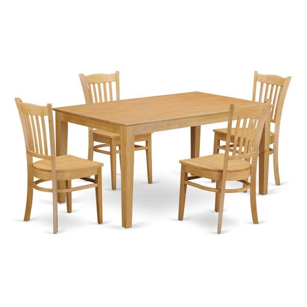 Traditional Oak Finish Solid Rubberwood 5 Piece Dining Set