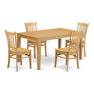 Traditional Oak Finish Solid Rubberwood 5-Piece Dining Set with Table and 4 Chairs