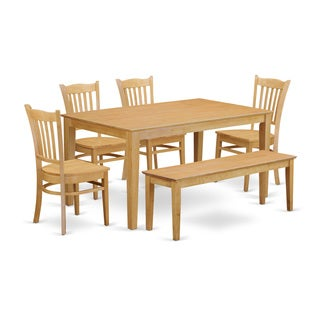Beige Rubberwood 6-piece Dining Set