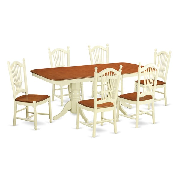 Archibald 7 Piece White Dining Set: White Solid Rubberwood 7-piece Traditional Dining Set With